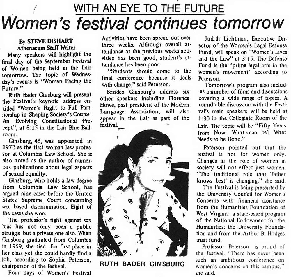 Clipping from the Daily Athenaeum, September 26, 1978. about the women's festival, with image of Ginsburg
