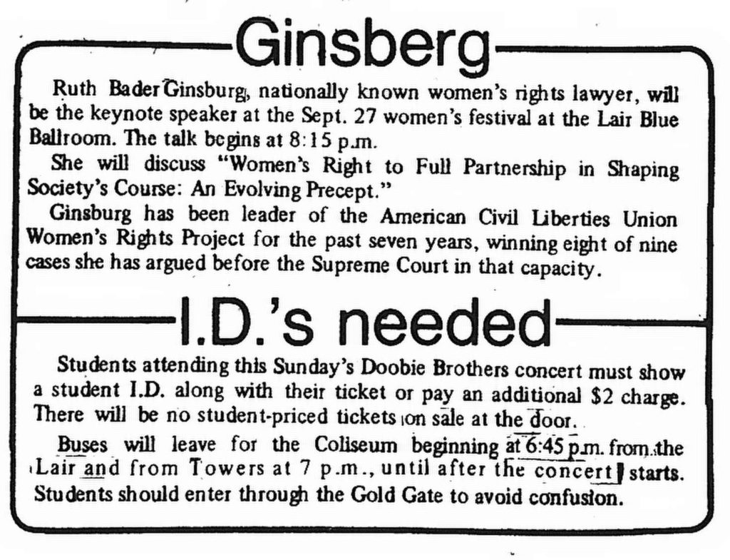 Clipping from the Daily Athenaeum, September 25, 1978, advertising Ginsburg's upcoming keynote speech as well as a Doobie Brothers concert