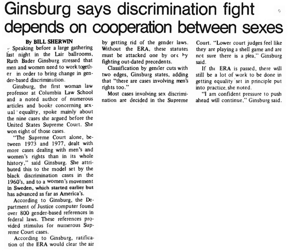 "Clipping from the Daily Athenaeum, September 28, 1978, ""Ginsburg says discrimination fight depends on cooperation between sexes"""