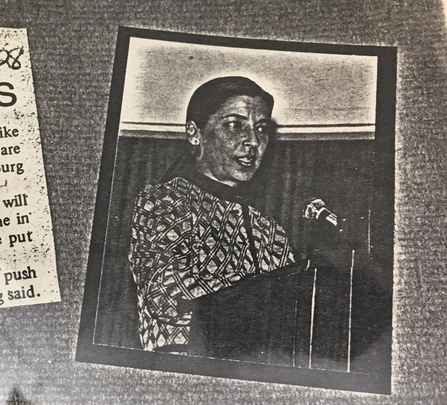 A photo of Ginsburg giving speech in 1978