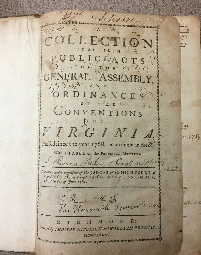 Title page of book, Collection of All Such Public Acts of the General Assembly and Ordinances of the Conventions of Virginia
