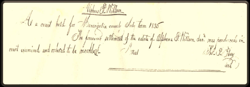 Snippet of legal proceedings surrounding the settlement of the estate of Alpheus P. Willson
