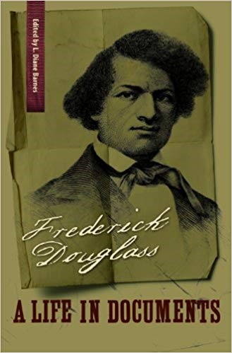 Cover of book Frederick Douglass: A Life in Documents, showing a portrait of a young Douglass