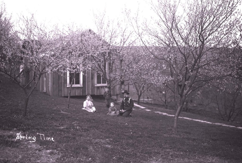 "Man in orchard with three children, with text ""Spring Time"""