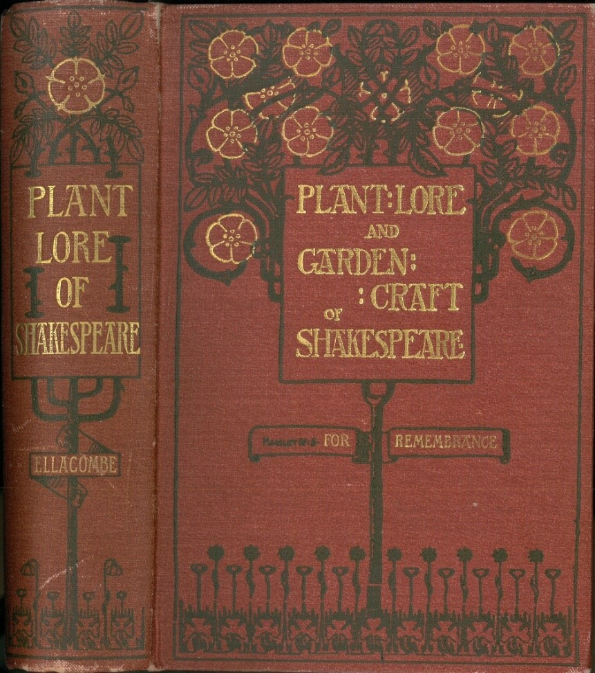 """Book cover of """"Plant-Lore and Garden Craft of Shakespeare""""; red cover with gold lettering, and gold and green flowering vine design"""