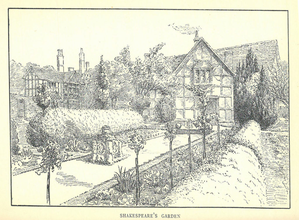 """Sketch of """"Shakespeare's Garden"""" showing a house with trees, bushes, and other plants around it"""