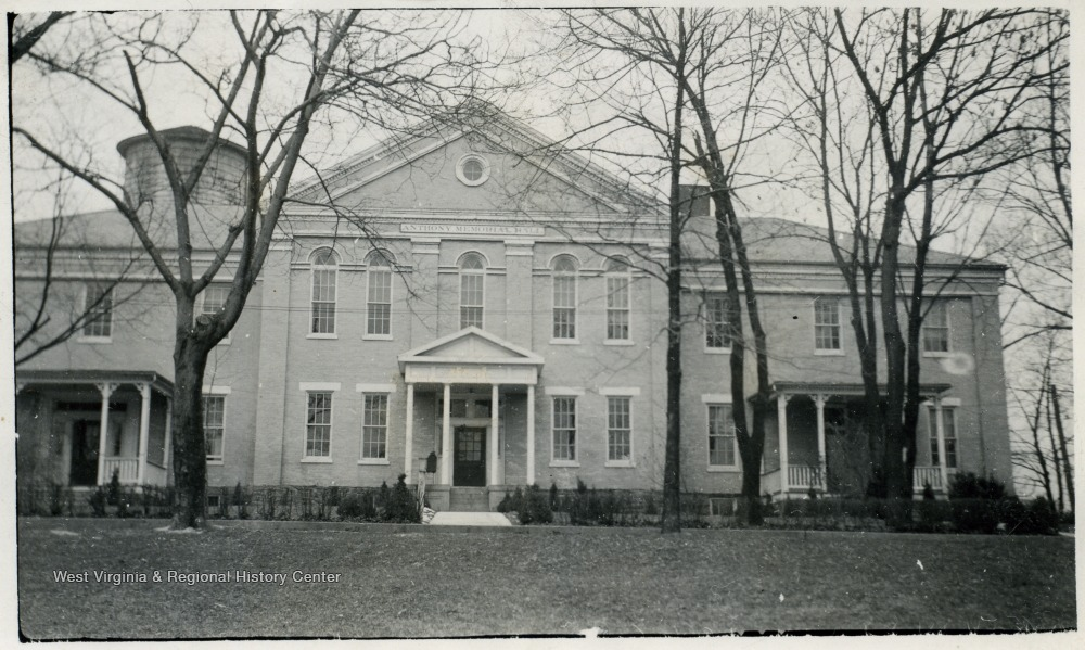 Black and white photograph of the front of Anthony Memorial Hall