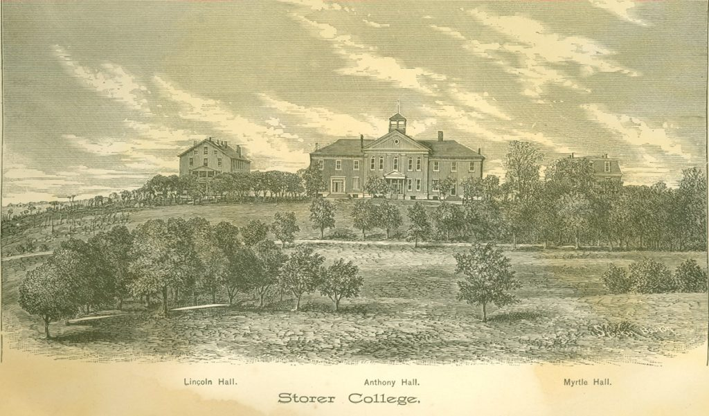 Sketch of Storer College campus, showing a field of trees in front of Lincoln Hall, Anthony Hall, and Myrtle Hall