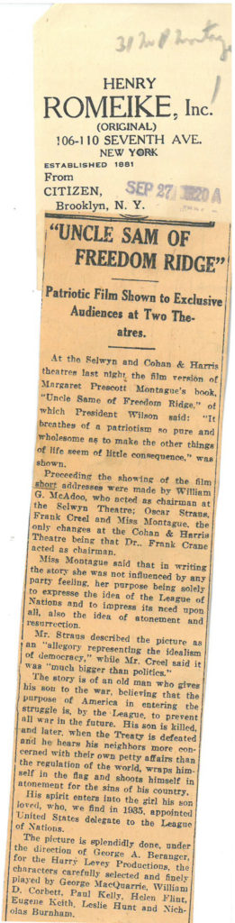 """Clipping of newspaper article titled """"Uncle Sam of Freedom Ridge"""" from the Henry Romeike clipping service"""