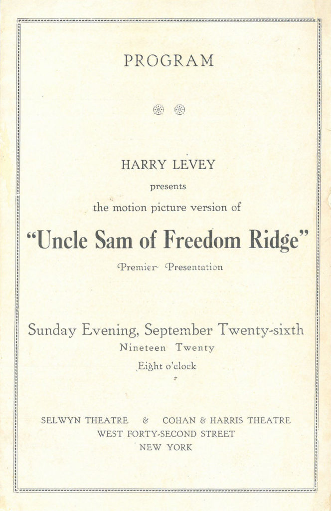 "Cover of program for the premier presentation of ""Uncle Sam of Freedom Ridge"" on September 26, 1920, at Selwyn Theatre & Cohan & Harris Theatre, New York"