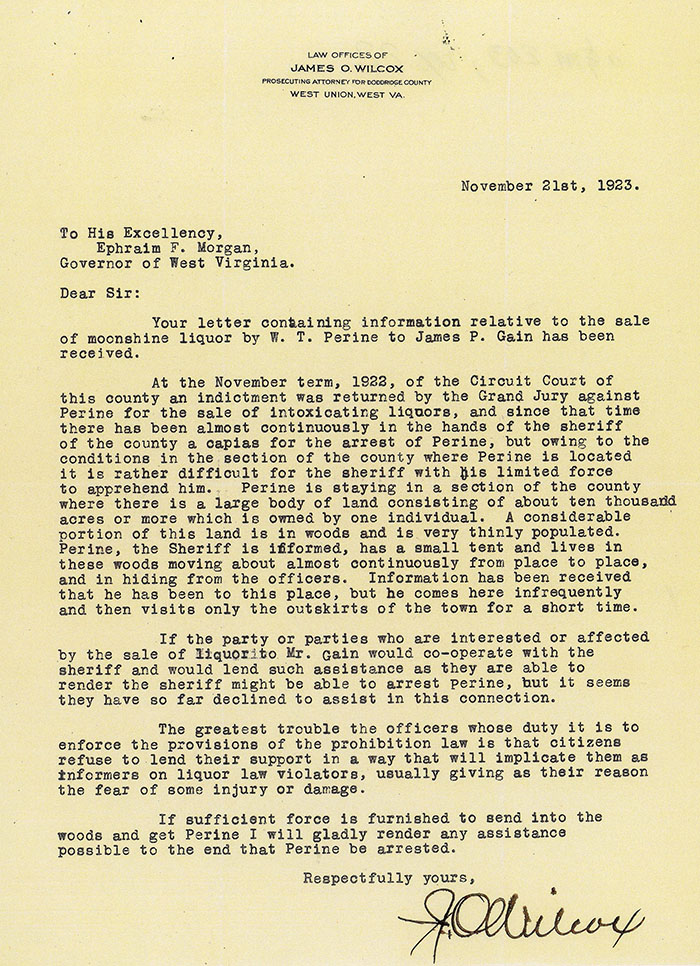 Letter from James O. Wilcox to Ephraim F. Morgan, Governor of West Virginia, in 1923
