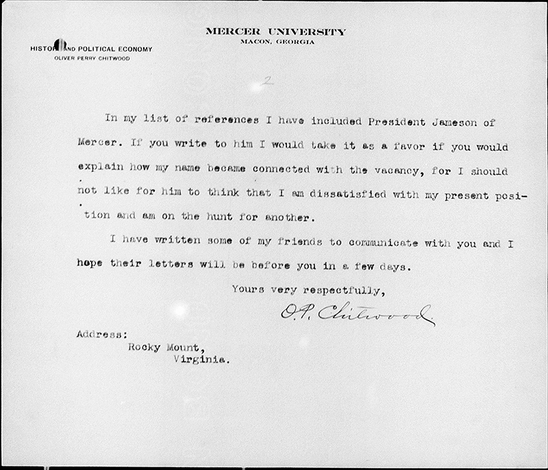 Second page of a letter on Mercer University letterhead, signed by O.P. Chitwood