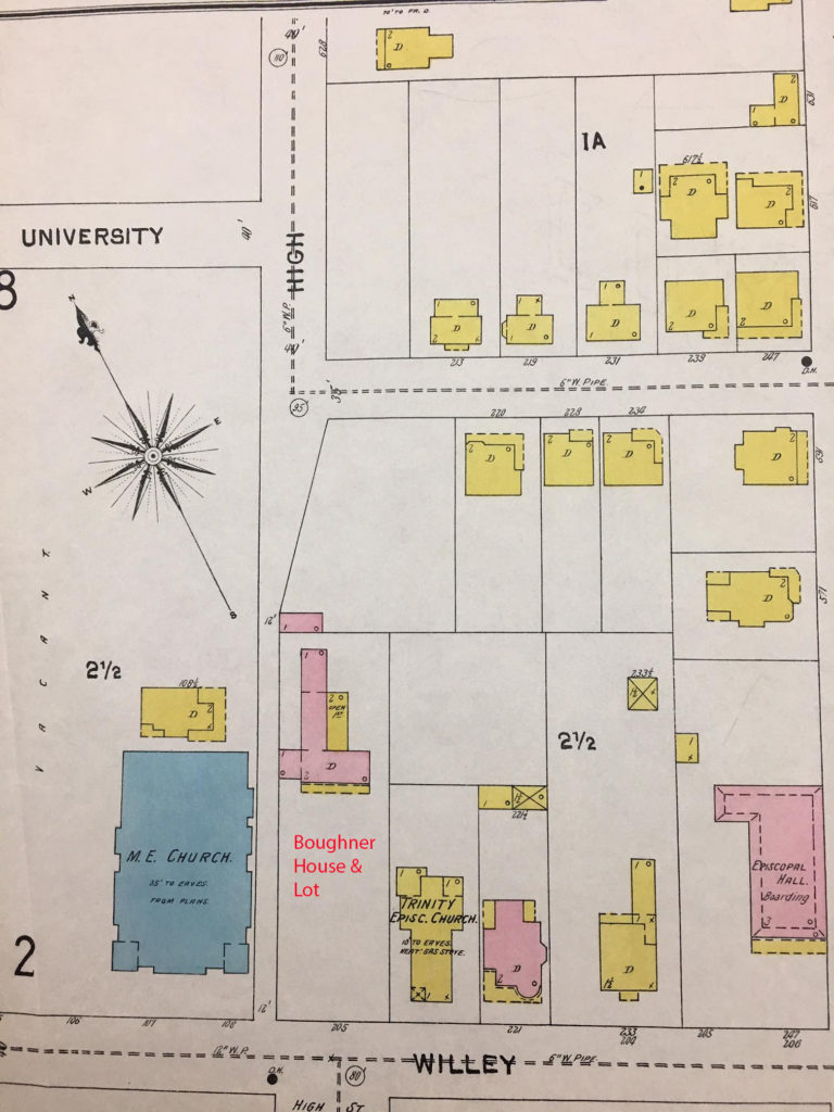 Map showing University, High, and Willey Streets, with color coded and labeled buildings.