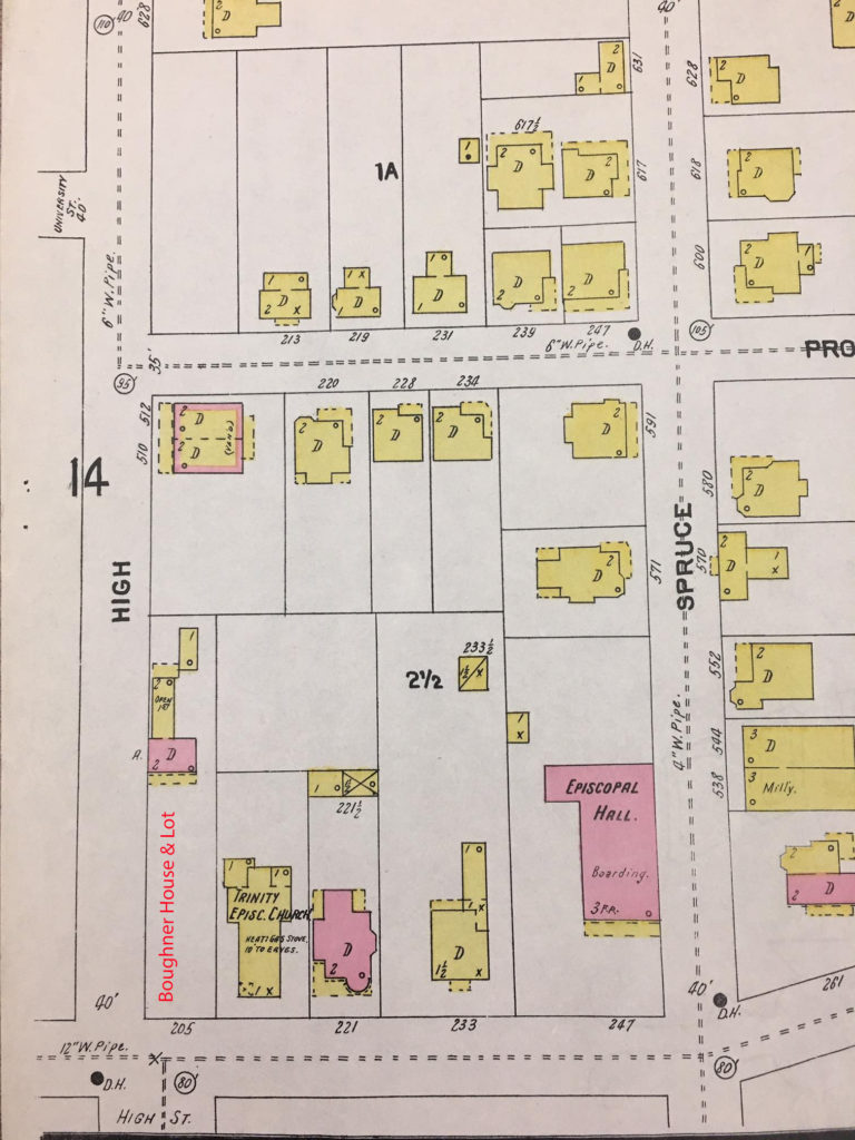 Map showing High, Willey,and Spruce Streets, with color coded and labeled buildings.