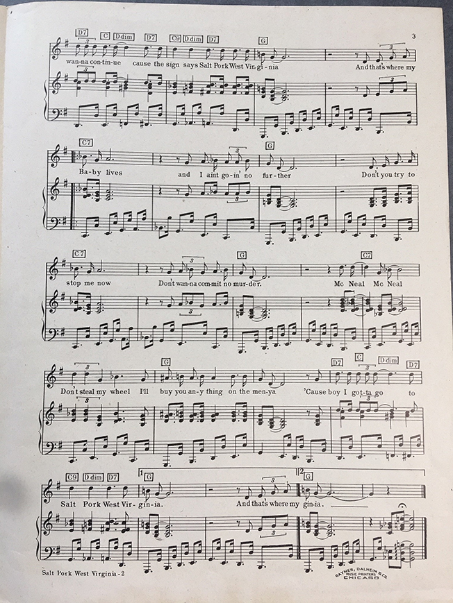 "Second page of sheet music for ""Salt Pork West Virginia"""