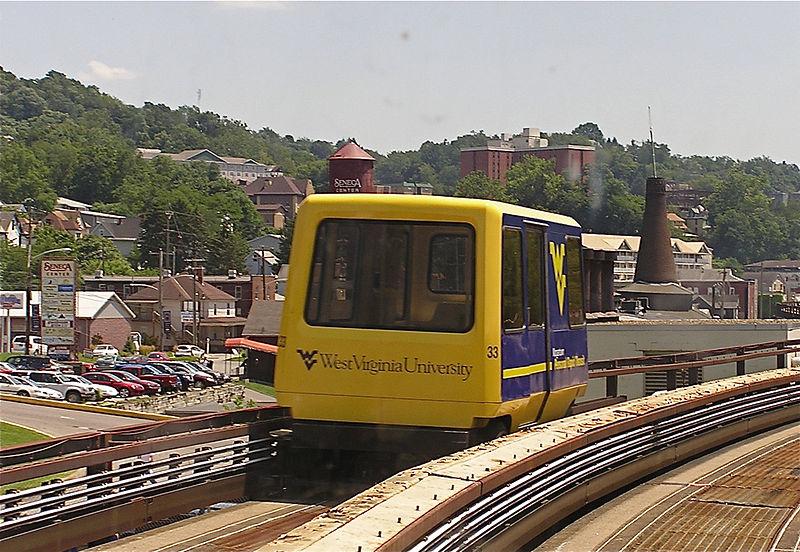 WVU PRT car moving along the track