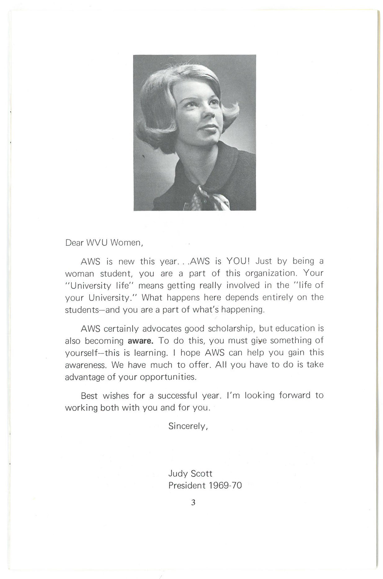 Headshot of Judy Scott, with letter about getting involved in AWS.