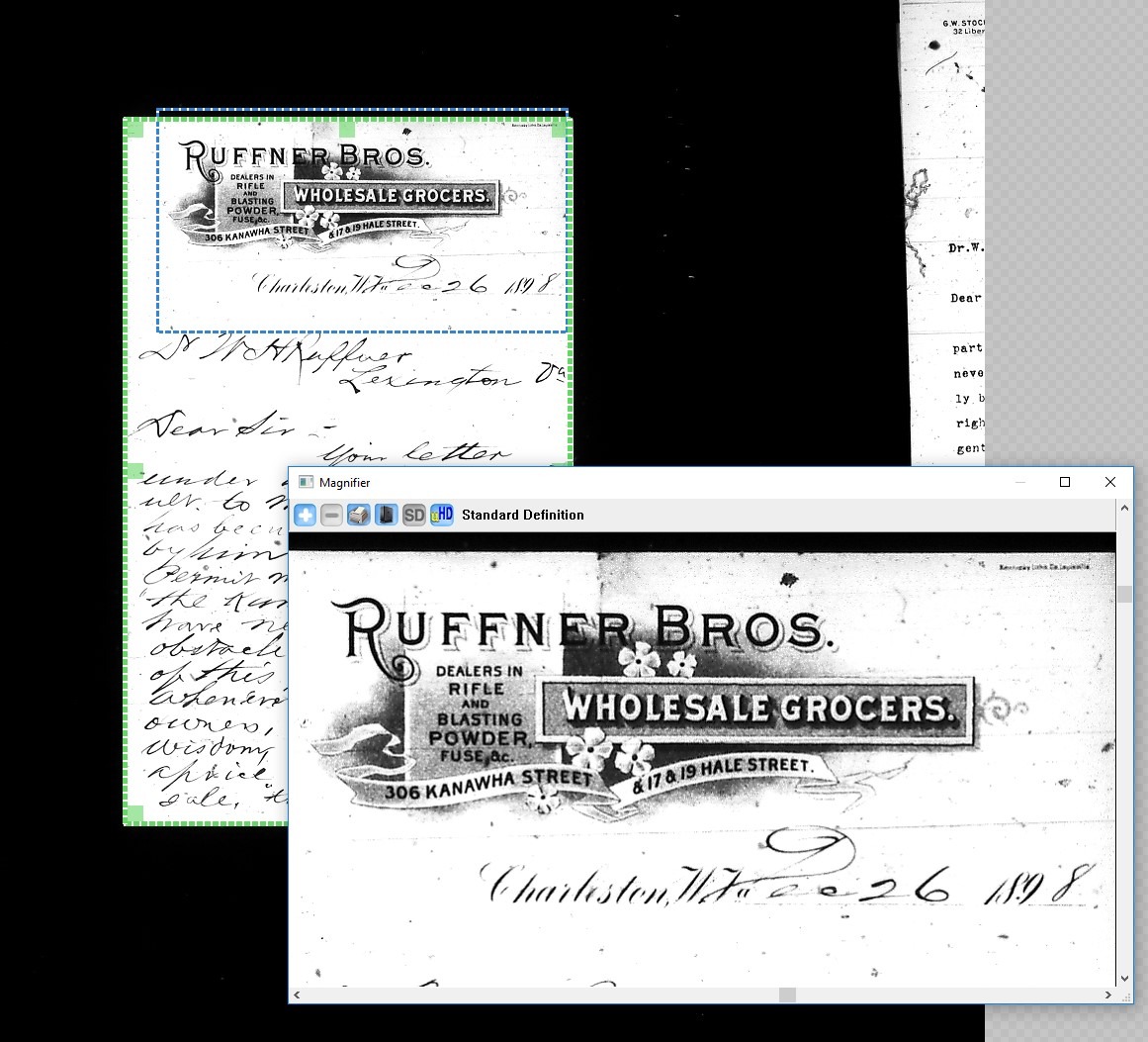 Screenshot of ScanPro software, showing historical letter with enlarged picture of letterhead of the Ruffner Bros. Wholesale Grocers