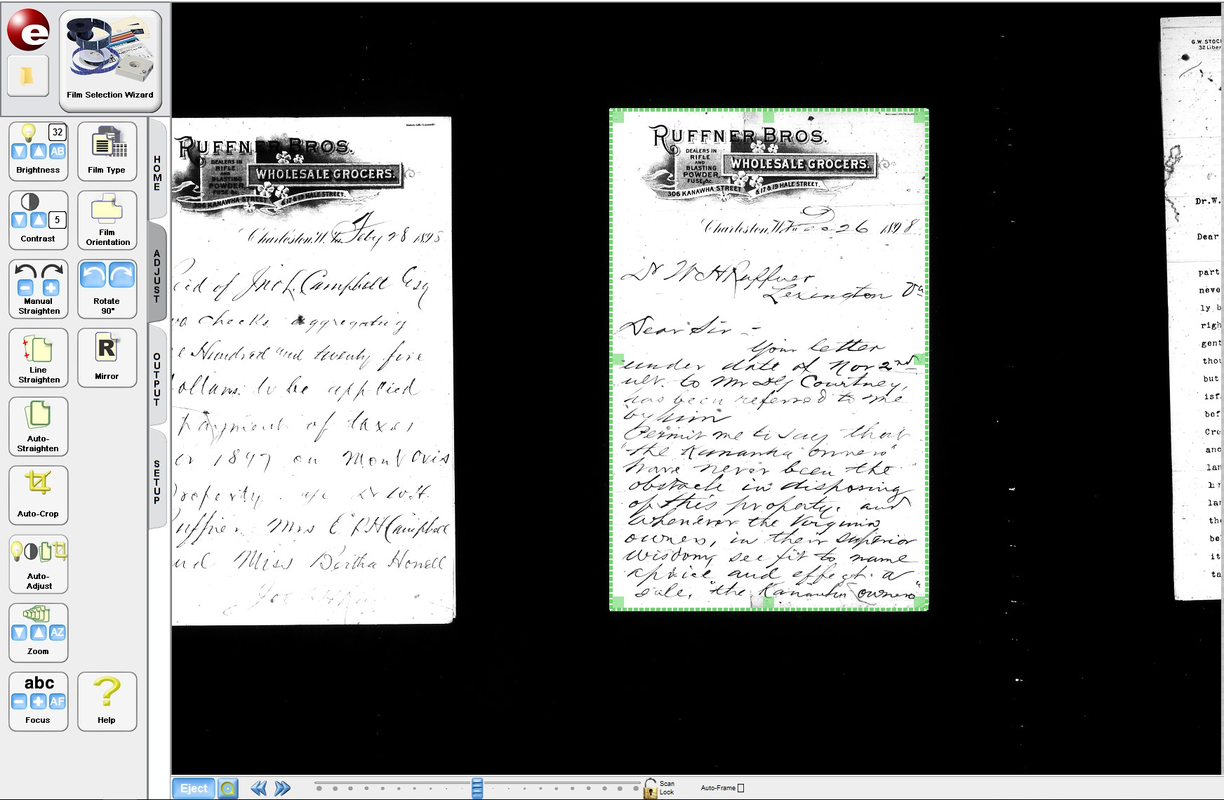 Screenshot of ScanPro software, showing two historical letters