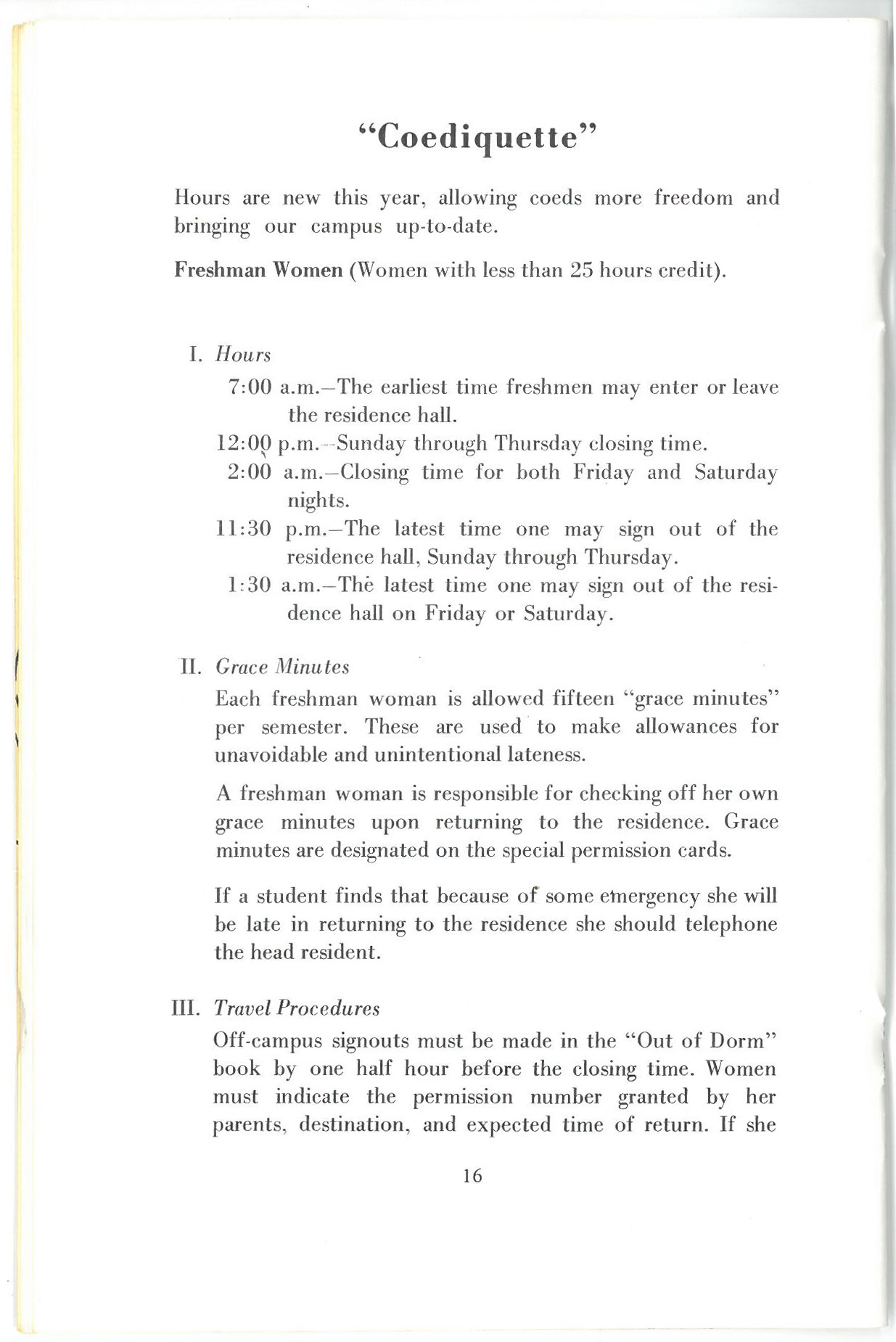 """Page of text titled """"Coediquette"""" with information about hours first year women could leave and return to their dorms, """"grace minutes"""" for lateness, and travel procedures."""