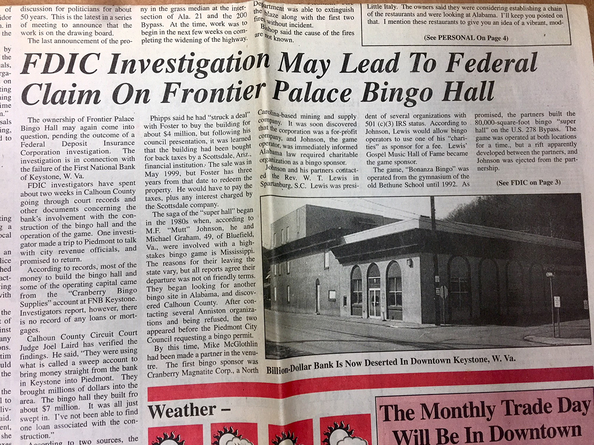 "Newspaper page with headline ""FDIC Investigation May Lead To Federal Claim On Frontier Palace Bingo Hall"""