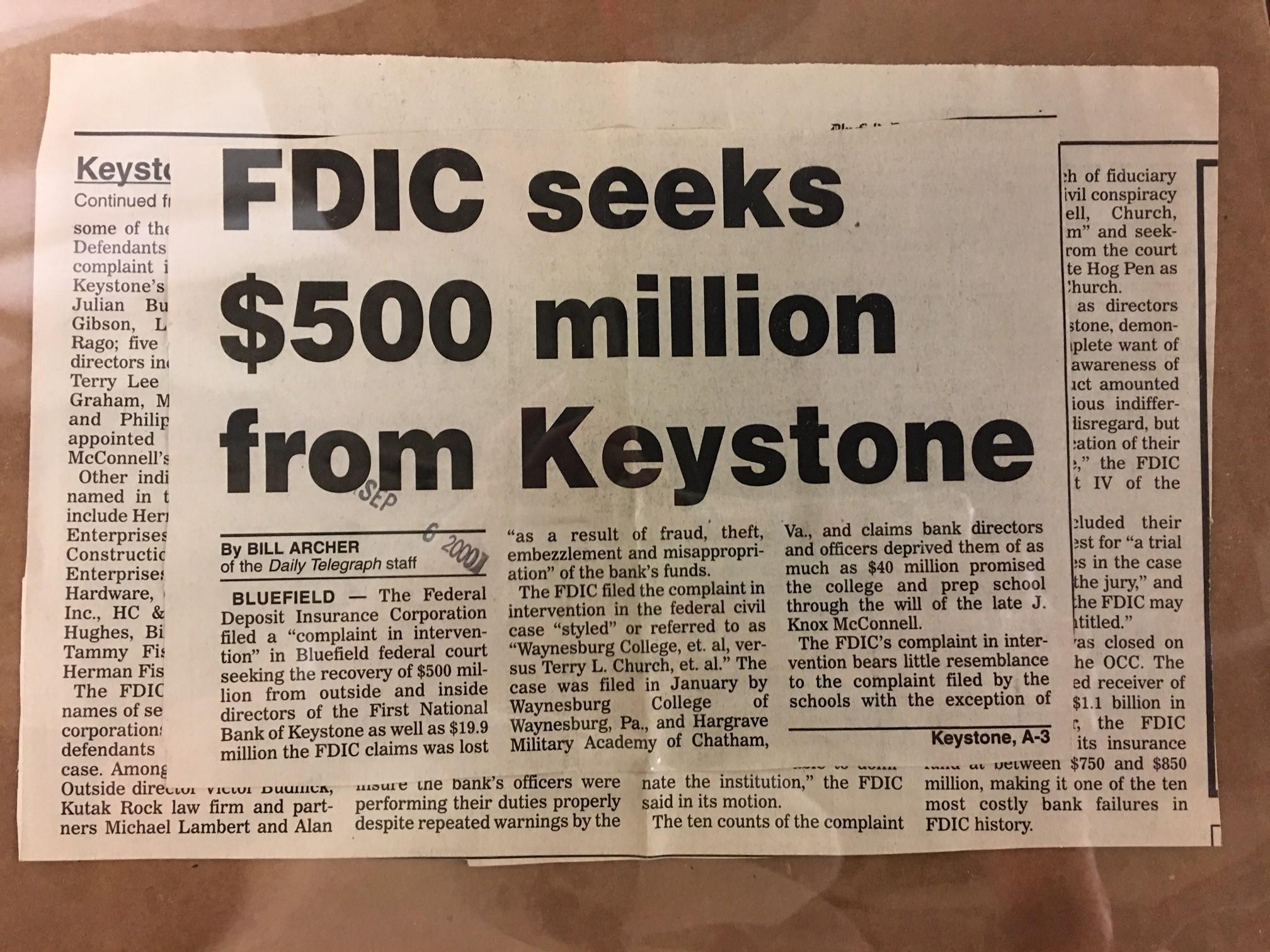 "Article with headline ""FDIC seeks $500 million from Keystone"""
