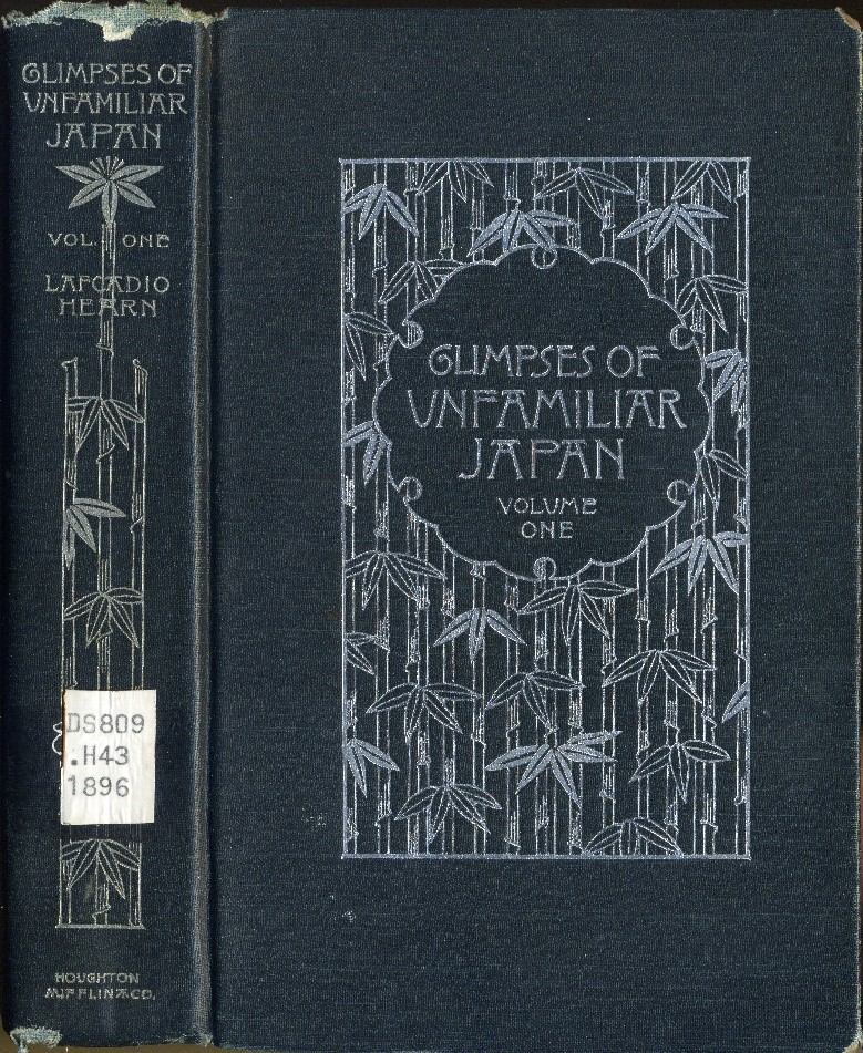 Book spine and cover of Glimpses of Unfamiliar Japan, with bamboo motif