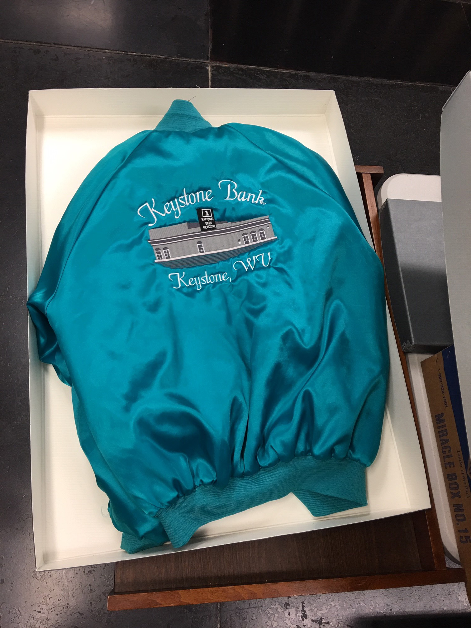 Jacket with picture of Keystone Bank on the back