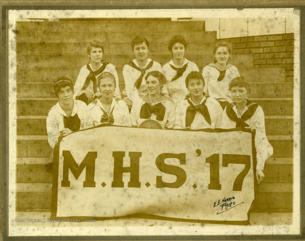 Group portrait of the women basketball team of MHS class of 1917