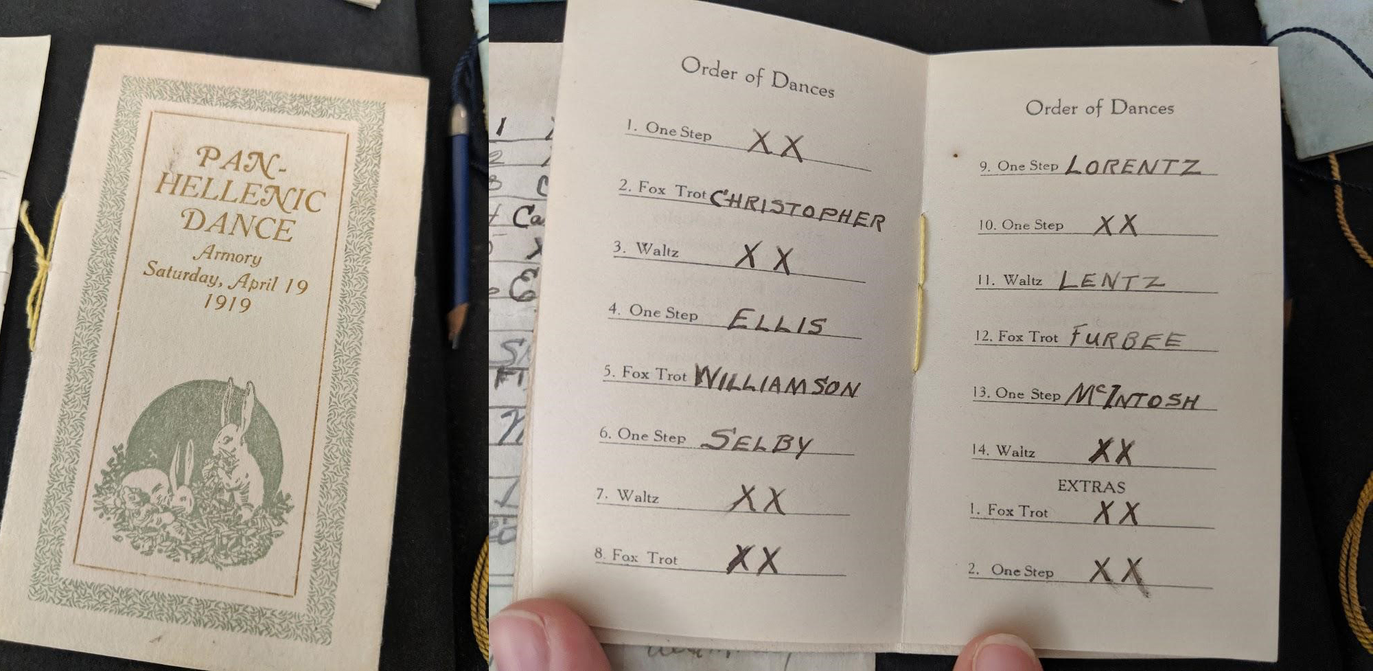 Cover and interior pages of a dance card, showing the names of the men to be danced with and the corresponding types of dance.
