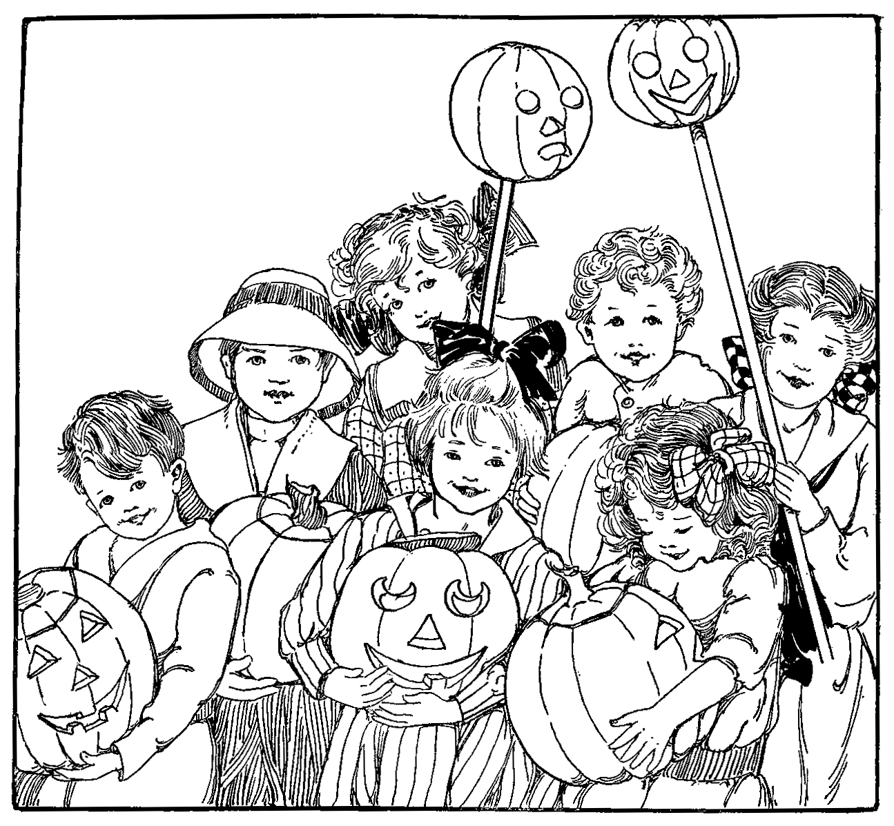 Sketch of children carrying jack-o-lanterns