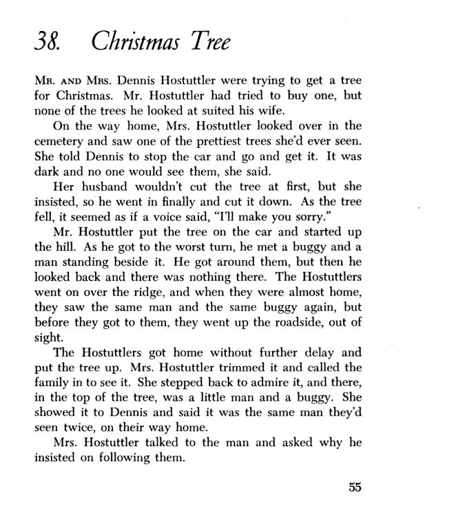 "Scanned first page of story ""Christmas Tree"" from a book"