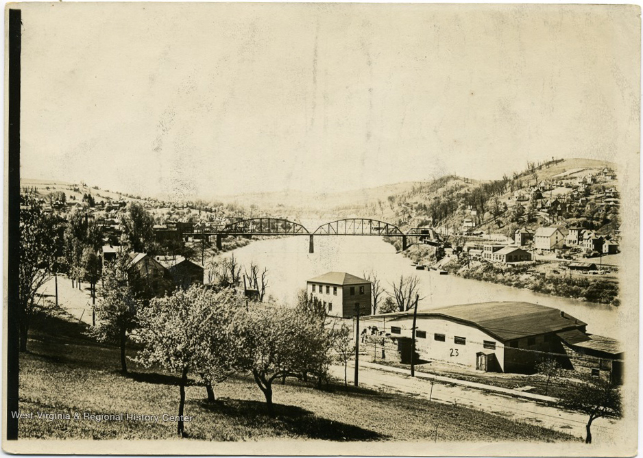 Landscape view of Morgantown, the Monongahela River with the Westover Bridge, and Westover, ca. 1916.