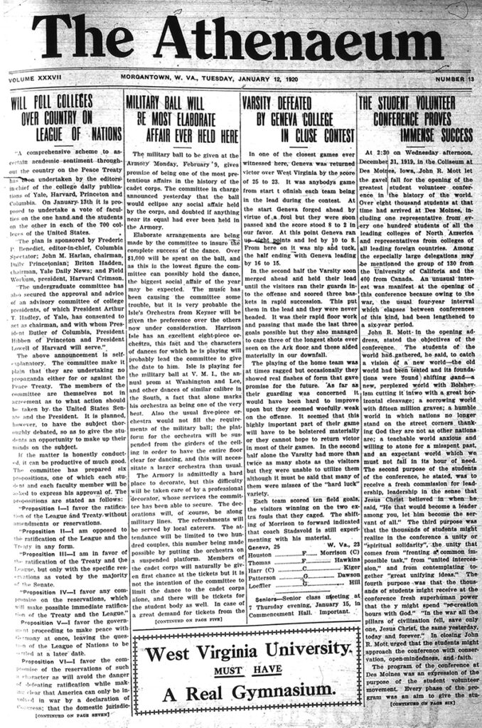 First page of newspaper The Athenaeum, January 12, 1920, with mostly text