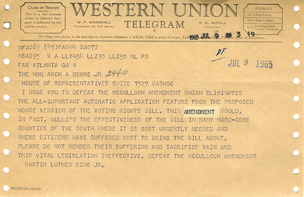 Telegram from Martin Luther King Jr