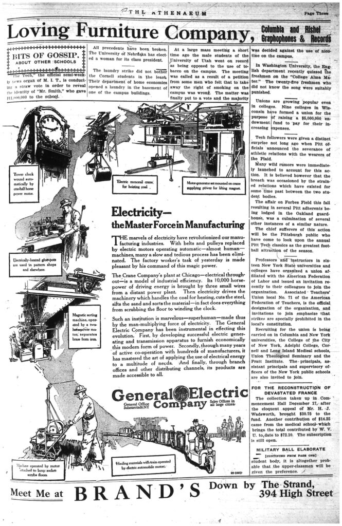 Third page of the Athenaeum newspaper, including text and a large ad with pictures for General Electric