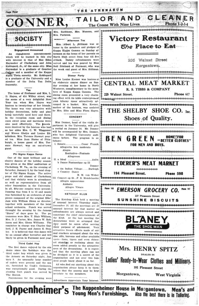 Fourth page of the Athenaeum newspaper, including text and ads