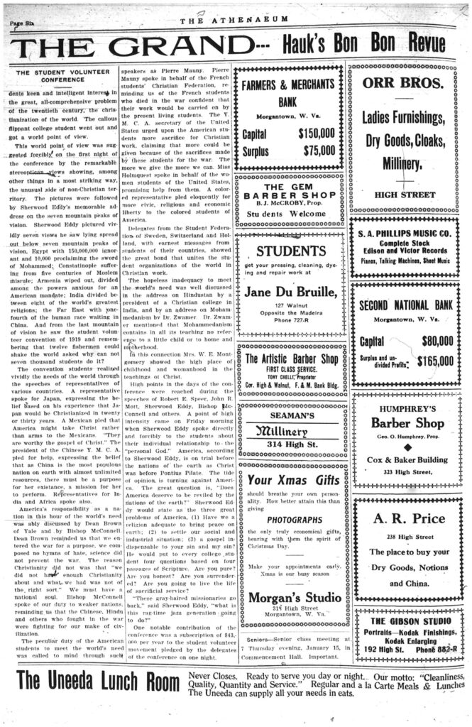 Sixth page of the Athenaeum newspaper, including text and ads