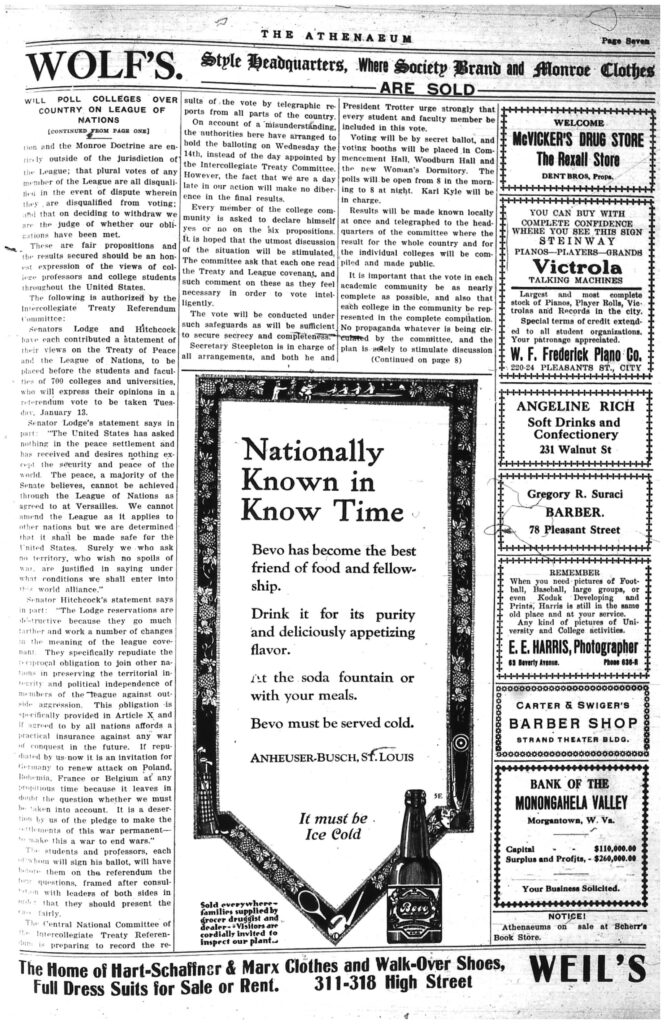 Seventh page of the Athenaeum newspaper, including text and ads
