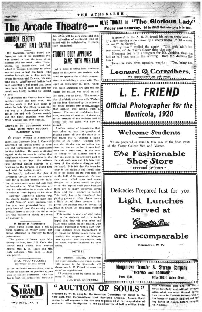 Eighth page of the Athenaeum newspaper, including text and ads