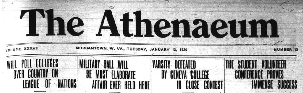 Masthead from The Athenaeum newspaper in 1920, with headlines mentioning the League of Nations,  military ball, sports, and student volunteer conference