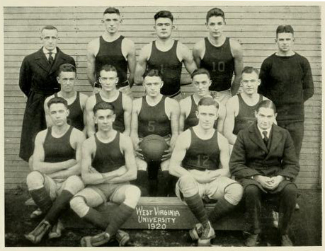 Group photo of the WVU basketball team from 1920