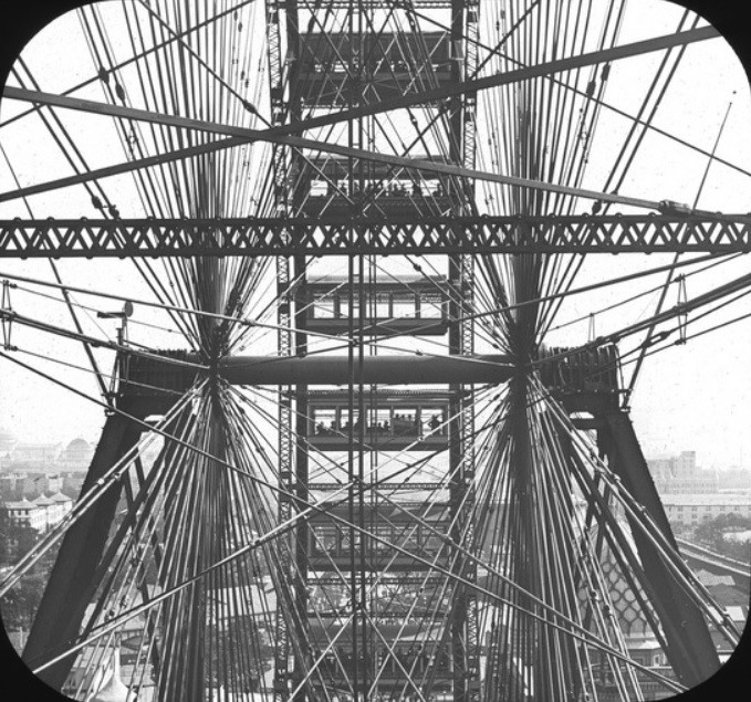 View of the world's first Ferris Wheel from a passenger car at the center point.