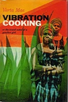 """A photograph of a woman superimposed on the same photograph but shifted slightly up and to the right and made smaller, all next to the words """"VIBRATION COOKING"""""""