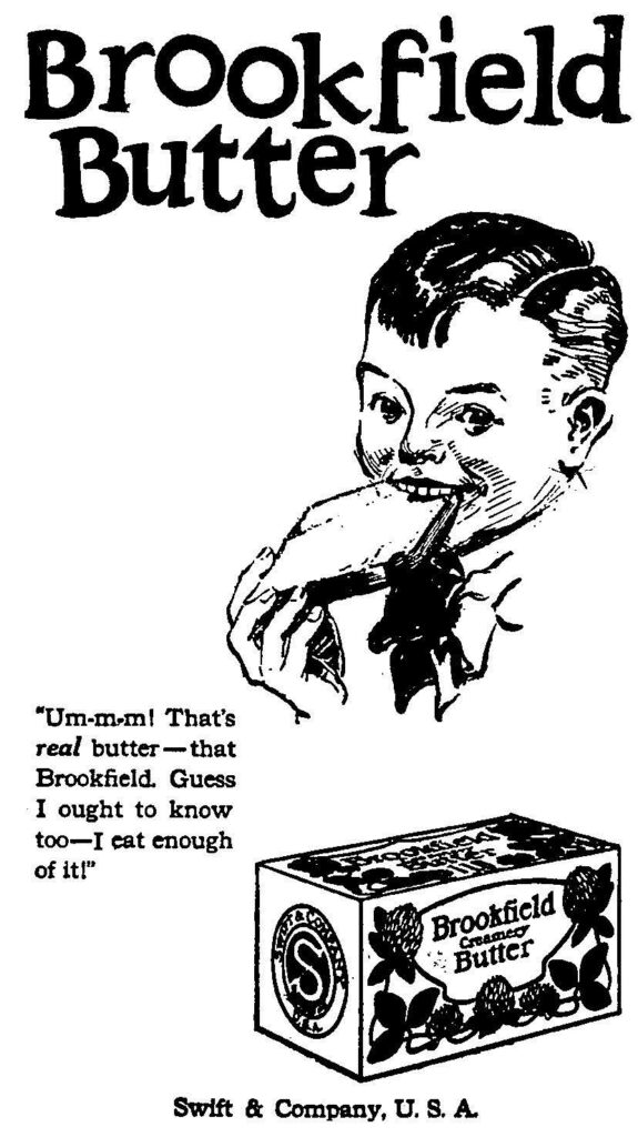 Brookfield Butter advertisement featuring a boy eating a slice of buttered bread and a box of the butter.