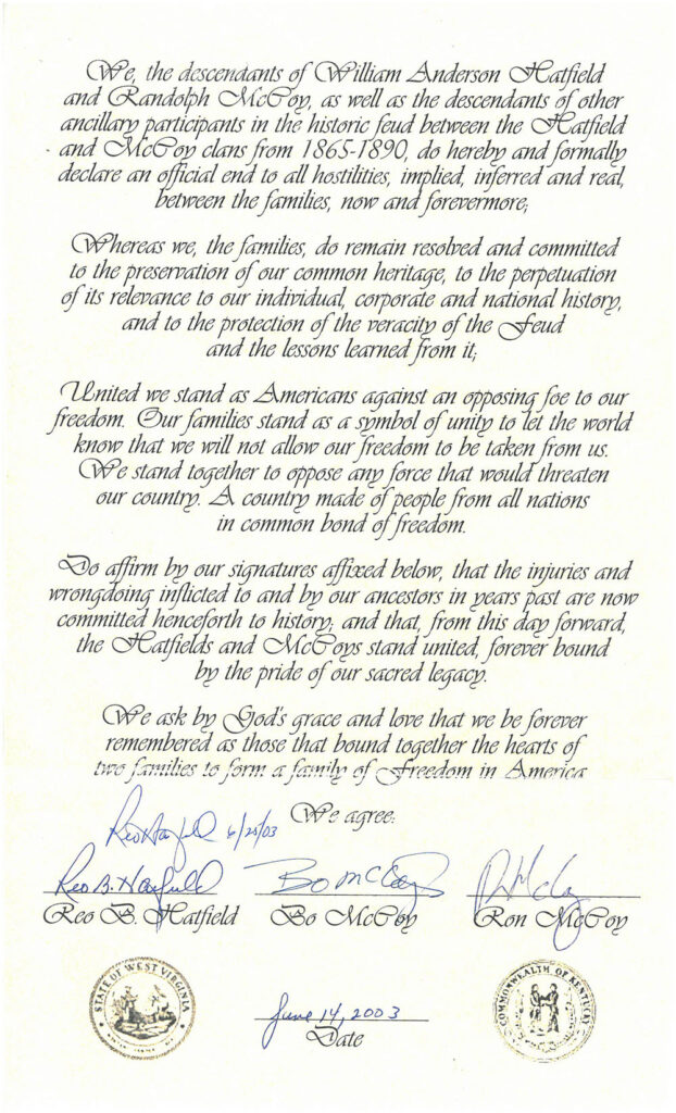 A unity statement between the Hatfield and McCoy families, signed by Reo B. Hatfield, Bo McCoy, and Ron McCoy, dated June 14, 2003.