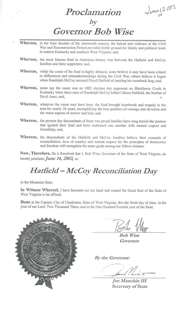 Official declaration document (with state seal) of June 14, 2003 as Hatfield-McCoy Reconciliation Day, by Governor Bob Wise