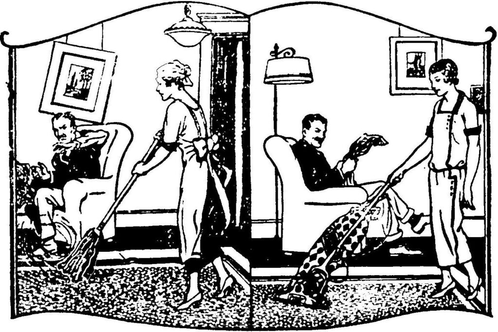 Grouchy-looking man in unkempt room where aproned woman is sweeping, juxtaposed with relaxed man in well-kept room where nicely dressed woman is vacuuming.