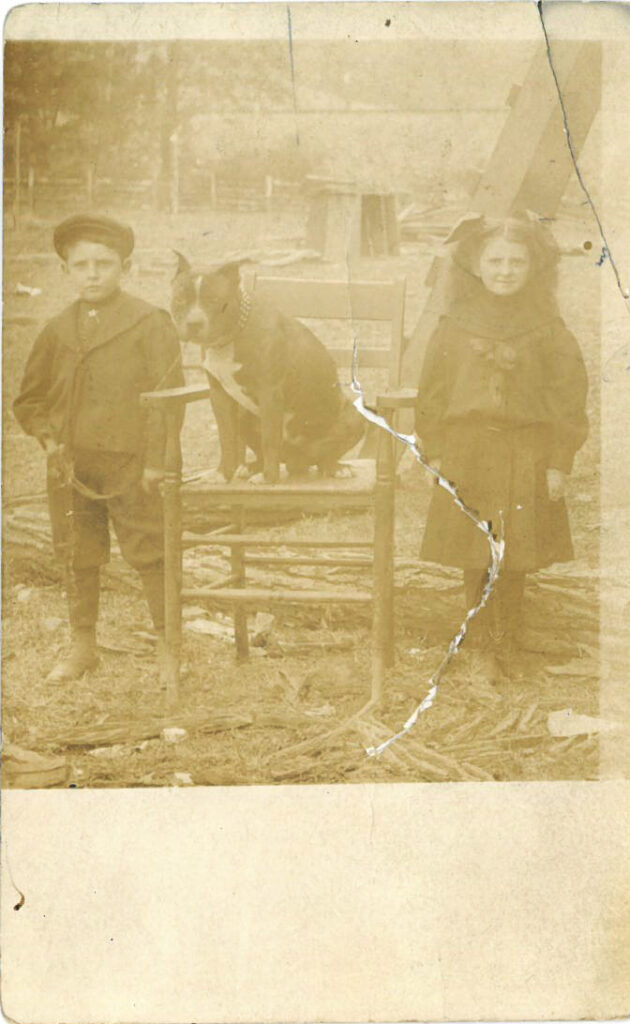 Two children outside, standing next to a dog seated on a chair.