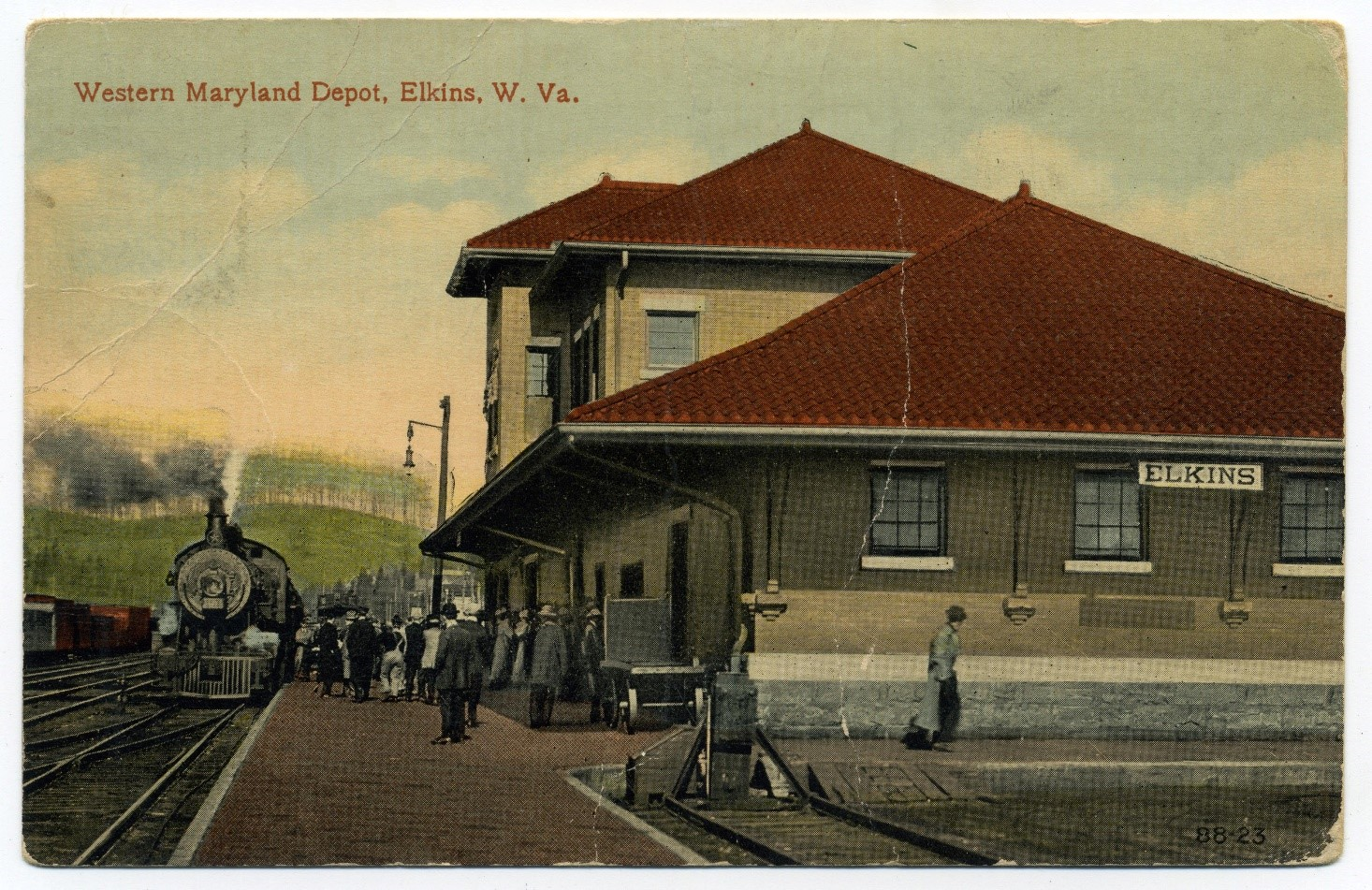 Train next to depot building